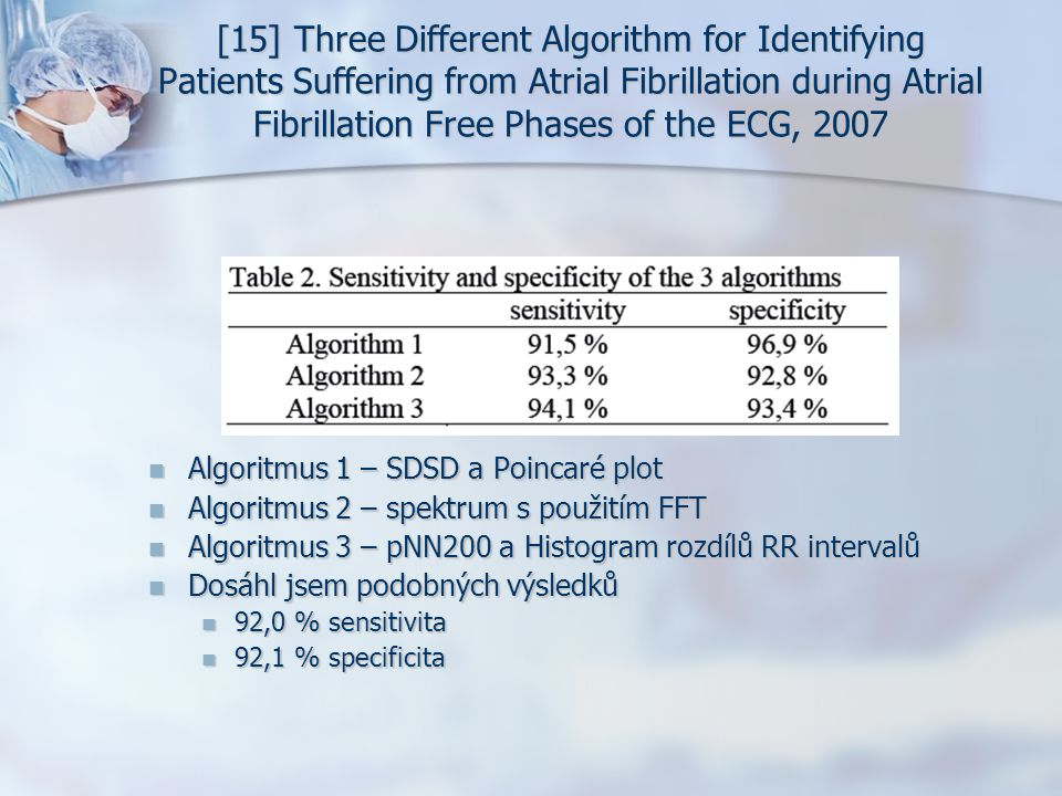 [15] Three Different Algorithm for Identifying Patients Suffering from Atrial Fibrillation during Atrial Fibrillation Free Phases of the ECG, 2007 Alg
