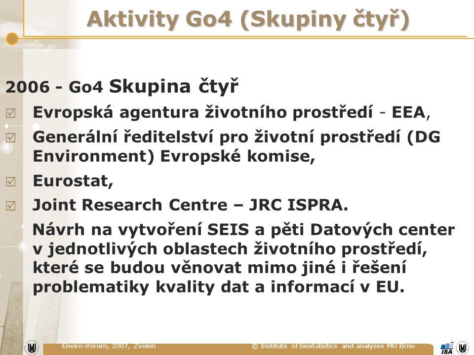 Enviro-iforum, 2007, Zvolen © Institute of biostatistics and analyses MU Brno Aktivity Go4 (Skupiny čtyř) 2006 - Go4 Skupina čtyř  Evropská agentura