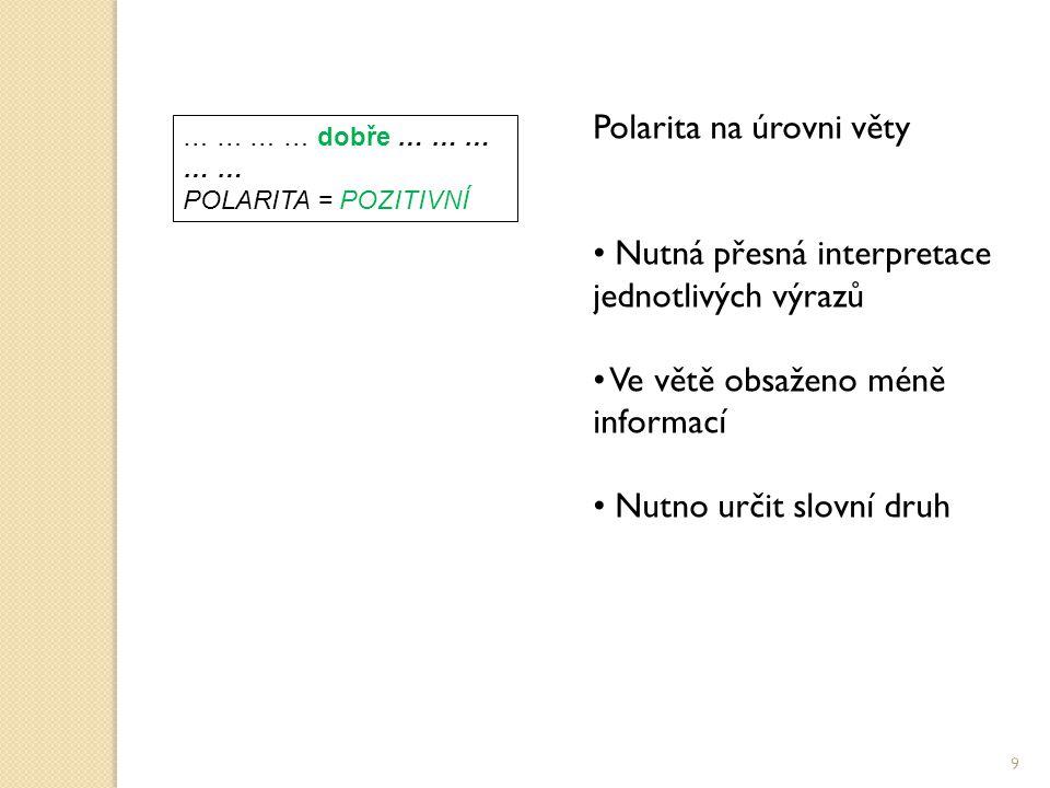 Polarita na úrovni věty Nutná přesná interpretace jednotlivých výrazů Ve větě obsaženo méně informací Nutno určit slovní druh … … … … dobře … … … … … POLARITA = POZITIVNÍ 9