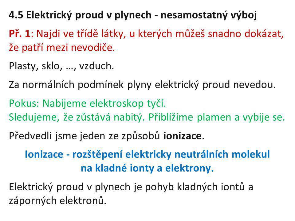 4.5 Elektrický proud v plynech - nesamostatný výboj Př. 1: Najdi ve třídě látky, u kterých můžeš snadno dokázat, že patří mezi nevodiče. Plasty, sklo,