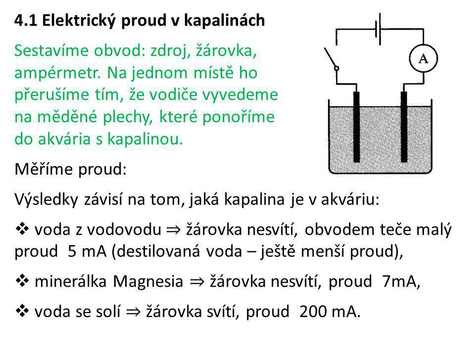 4.1 Elektrický proud v kapalinách Sestavíme obvod: zdroj, žárovka, ampérmetr. Na jednom místě ho přerušíme tím, že vodiče vyvedeme na měděné plechy, k