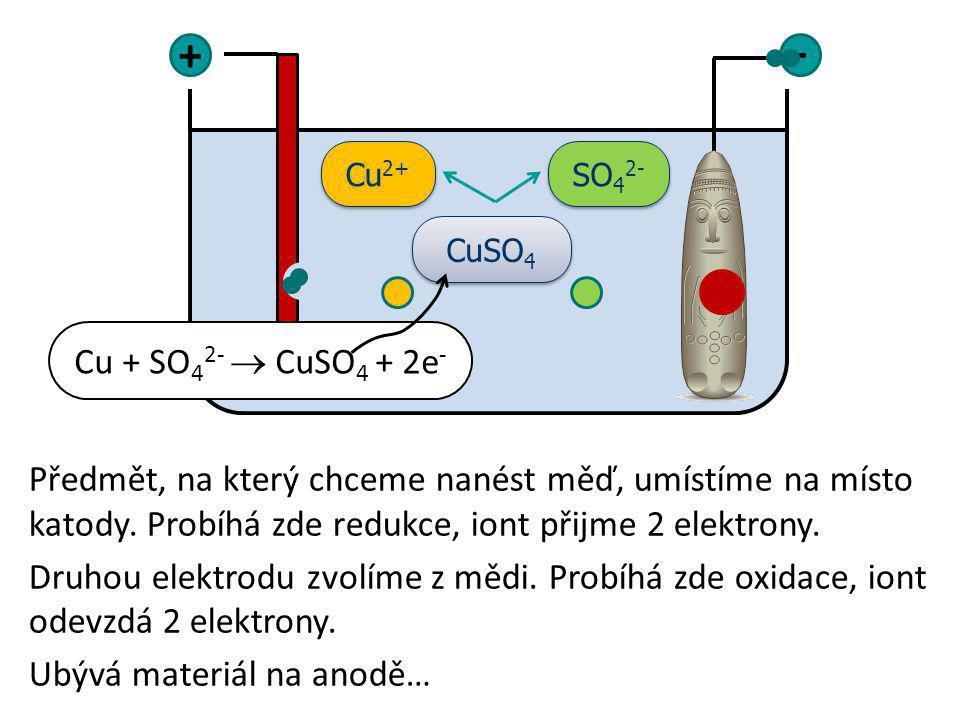 Předmět, na který chceme nanést měď, umístíme na místo katody. Probíhá zde redukce, iont přijme 2 elektrony. Druhou elektrodu zvolíme z mědi. Probíhá