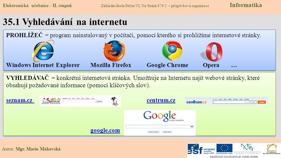 35.2 Co už známe – Prohlížeč webových stránek Elektronická učebnice - II.