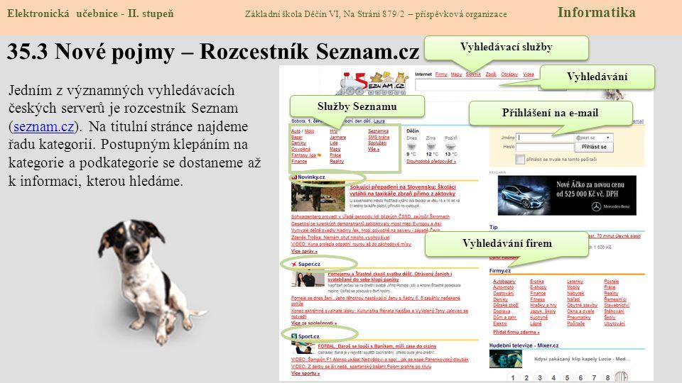Elektronická učebnice - II. stupeň Základní škola Děčín VI, Na Stráni 879/2 – příspěvková organizace Informatika 35.3 Nové pojmy – Rozcestník Seznam.c