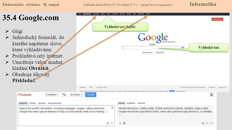 35.4 Google.com Elektronická učebnice - II. stupeň Základní škola Děčín VI, Na Stráni 879/2 – příspěvková organizace Informatika Vyhledávání Vyhledáva