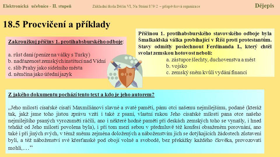 18.5 Procvičení a příklady Elektronická učebnice - II.