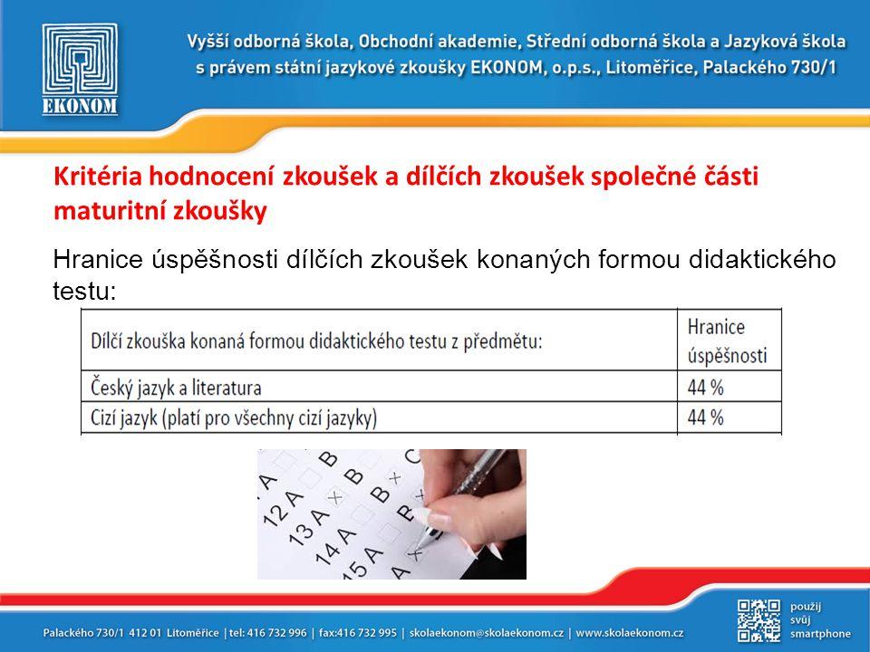 Kritéria hodnocení zkoušek a dílčích zkoušek společné části maturitní zkoušky Hranice úspěšnosti dílčích zkoušek konaných formou didaktického testu: