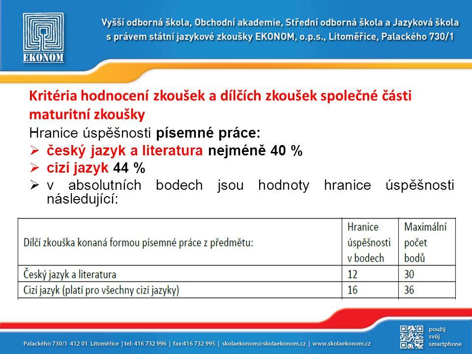 Kritéria hodnocení zkoušek a dílčích zkoušek společné části maturitní zkoušky Hranice úspěšnosti písemné práce:  český jazyk a literatura nejméně 40 %  cizí jazyk 44 %  v absolutních bodech jsou hodnoty hranice úspěšnosti následující: