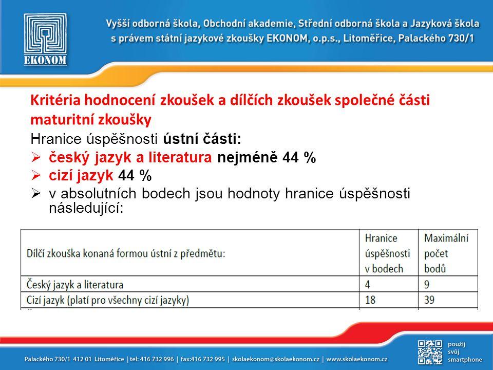 Kritéria hodnocení zkoušek a dílčích zkoušek společné části maturitní zkoušky Hranice úspěšnosti ústní části:  český jazyk a literatura nejméně 44 %  cizí jazyk 44 %  v absolutních bodech jsou hodnoty hranice úspěšnosti následující:
