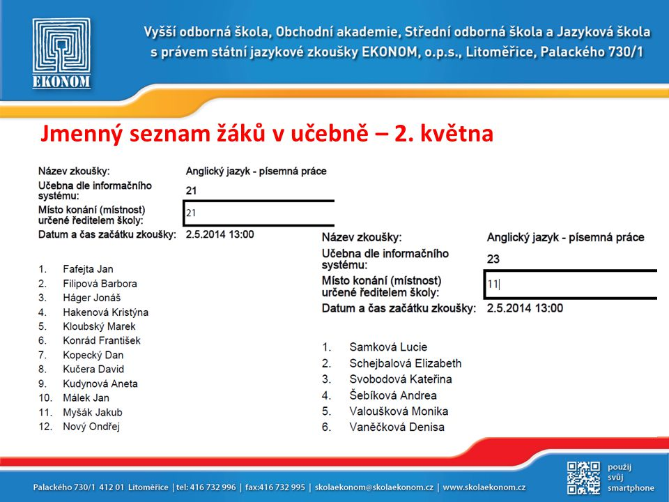 Jmenný seznam žáků v učebně – 2. května