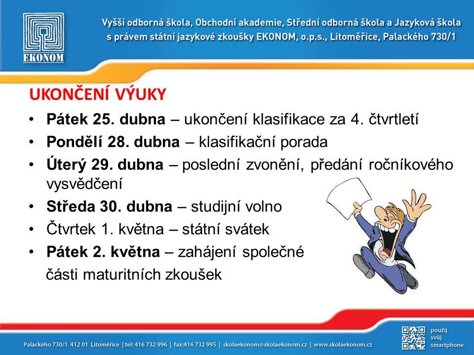 Termíny maturitních zkoušek, studijní volno Společná písemná část MZ – 2.-6.