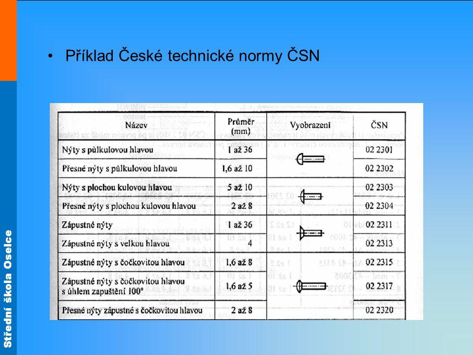 Střední škola Oselce Příklad mezinárodní normy ISO - v závorce označení ČSN