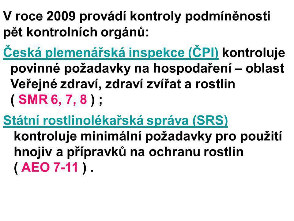 V roce 2009 provádí kontroly podmíněnosti pět kontrolních orgánů: Česká plemenářská inspekce (ČPI)Česká plemenářská inspekce (ČPI) kontroluje povinné