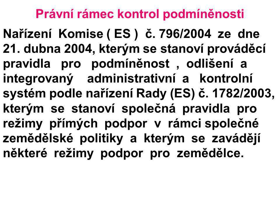 Právní rámec kontrol podmíněnosti Nařízení Komise ( ES ) č. 796/2004 ze dne 21. dubna 2004, kterým se stanoví prováděcí pravidla pro podmíněnost, odli
