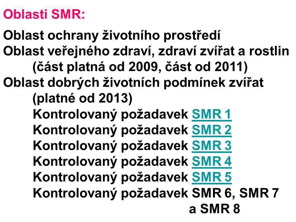 Oblasti SMR: Oblast ochrany životního prostředí Oblast veřejného zdraví, zdraví zvířat a rostlin (část platná od 2009, část od 2011) Oblast dobrých ži