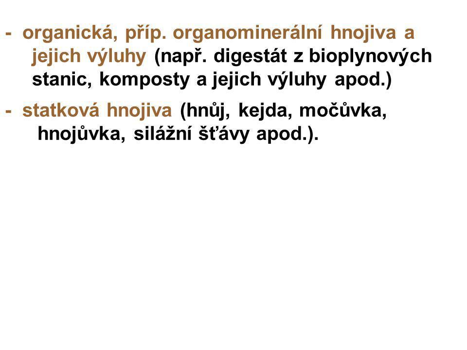 - organická, příp. organominerální hnojiva a jejich výluhy (např. digestát z bioplynových stanic, komposty a jejich výluhy apod.) - statková hnojiva (