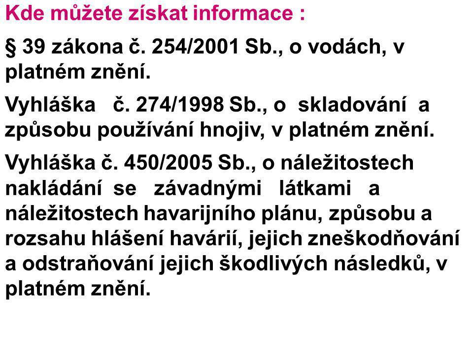 Kde můžete získat informace : § 39 zákona č. 254/2001 Sb., o vodách, v platném znění. Vyhláška č. 274/1998 Sb., o skladování a způsobu používání hnoji