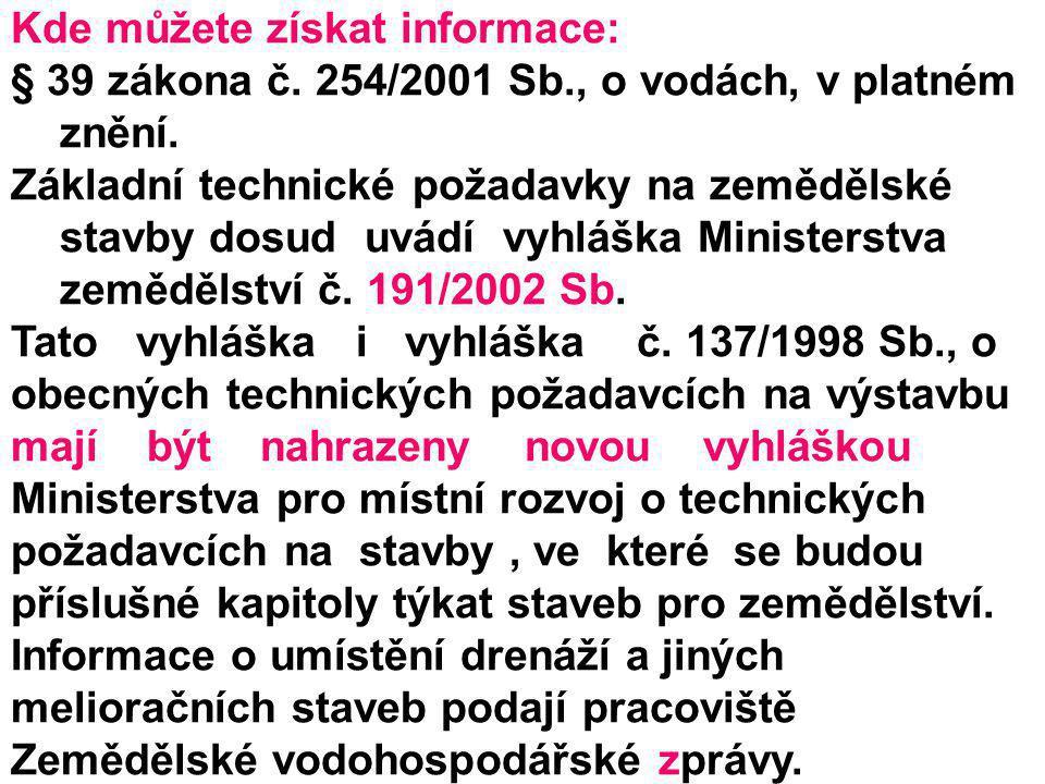 Kde můžete získat informace: § 39 zákona č. 254/2001 Sb., o vodách, v platném znění. Základní technické požadavky na zemědělské stavby dosud uvádí vyh