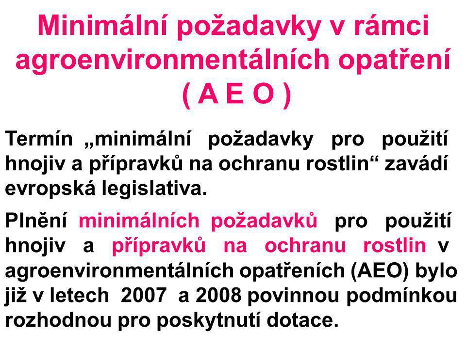 """Minimální požadavky v rámci agroenvironmentálních opatření ( A E O ) Termín """"minimální požadavky pro použití hnojiv a přípravků na ochranu rostlin"""" za"""