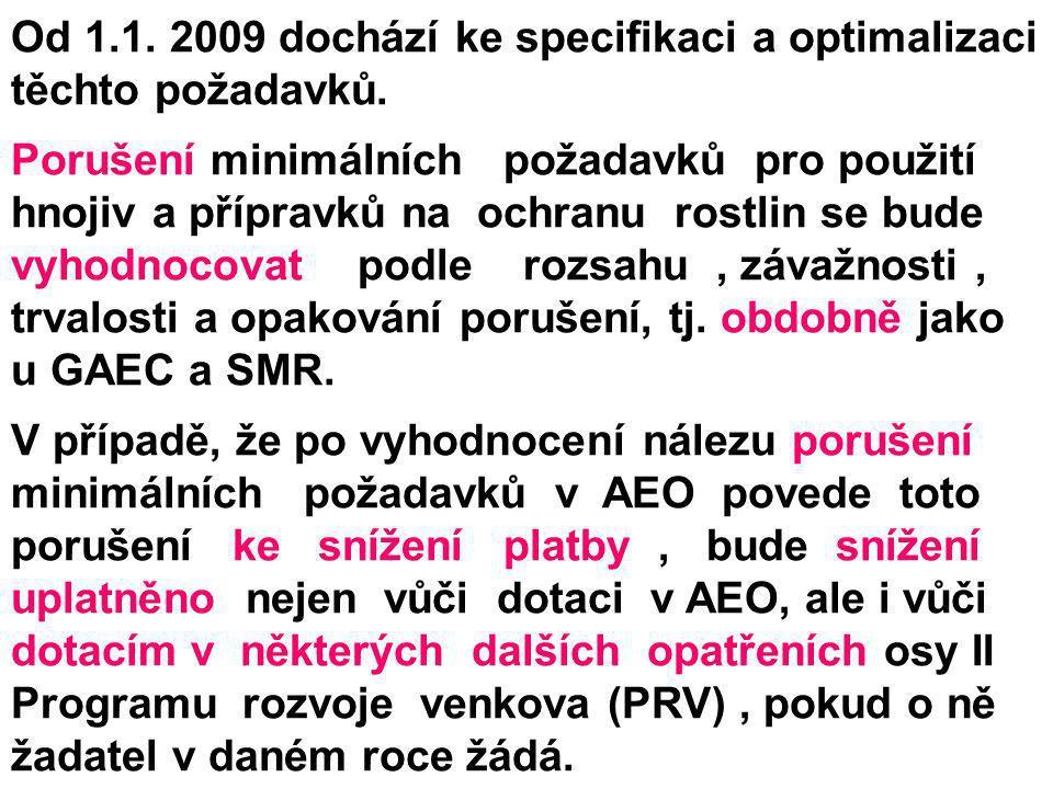 Od 1.1. 2009 dochází ke specifikaci a optimalizaci těchto požadavků. Porušení minimálních požadavků pro použití hnojiv a přípravků na ochranu rostlin