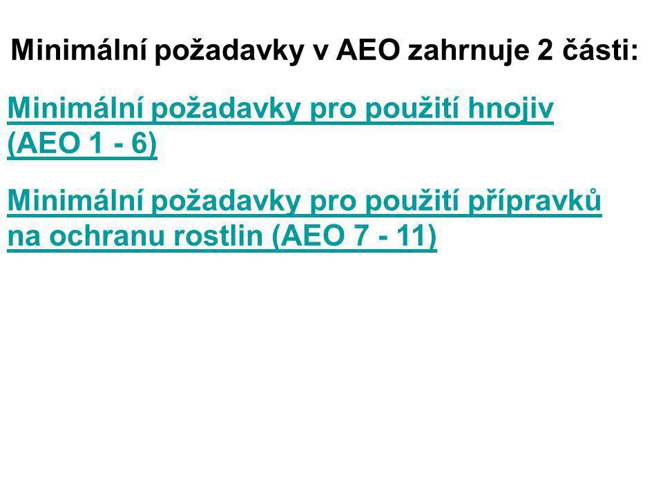 Minimální požadavky v AEO zahrnuje 2 části: Minimální požadavky pro použití hnojiv (AEO 1 - 6) Minimální požadavky pro použití přípravků na ochranu ro