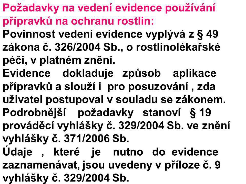 Požadavky na vedení evidence používání přípravků na ochranu rostlin: Povinnost vedení evidence vyplývá z § 49 zákona č. 326/2004 Sb., o rostlinolékařs