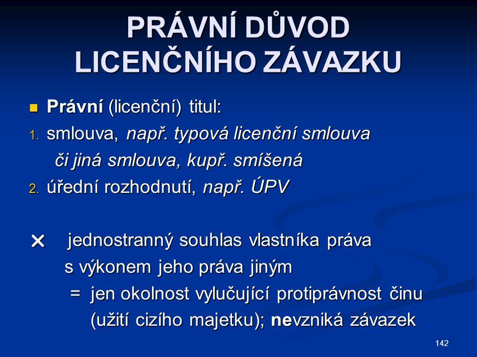 PRÁVNÍ DŮVOD LICENČNÍHO ZÁVAZKU Právní (licenční) titul: Právní (licenční) titul: 1. smlouva, např. typová licenční smlouva či jiná smlouva, kupř. smí
