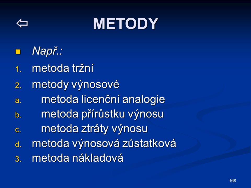  METODY Např.: Např.: 1. metoda tržní 2. metody výnosové a. metoda licenční analogie b. metoda přírůstku výnosu c. metoda ztráty výnosu d. metoda výn