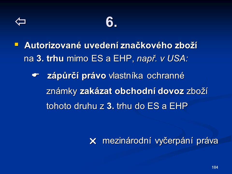  6.  Autorizované uvedení značkového zboží na 3. trhu mimo ES a EHP, např. v USA: na 3. trhu mimo ES a EHP, např. v USA:  zápůrčí právo vlastníka o