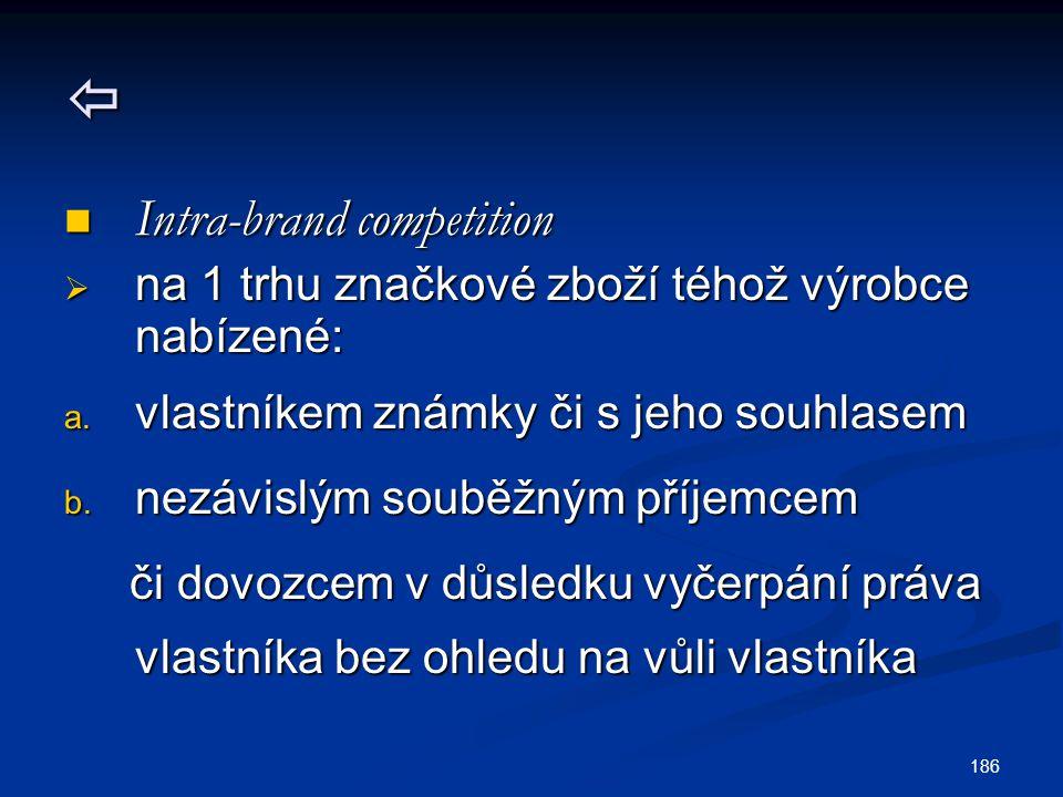  Intra-brand competition Intra-brand competition  na 1 trhu značkové zboží téhož výrobce nabízené: a. vlastníkem známky či s jeho souhlasem b. nezáv