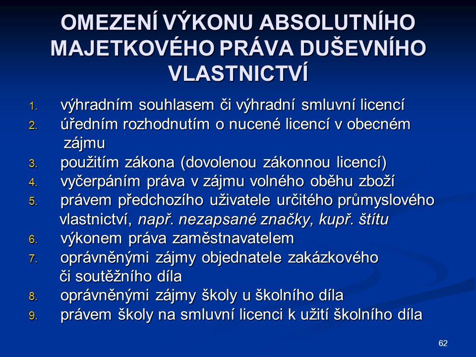 OMEZENÍ VÝKONU ABSOLUTNÍHO MAJETKOVÉHO PRÁVA DUŠEVNÍHO VLASTNICTVÍ 1. výhradním souhlasem či výhradní smluvní licencí 2. úředním rozhodnutím o nucené