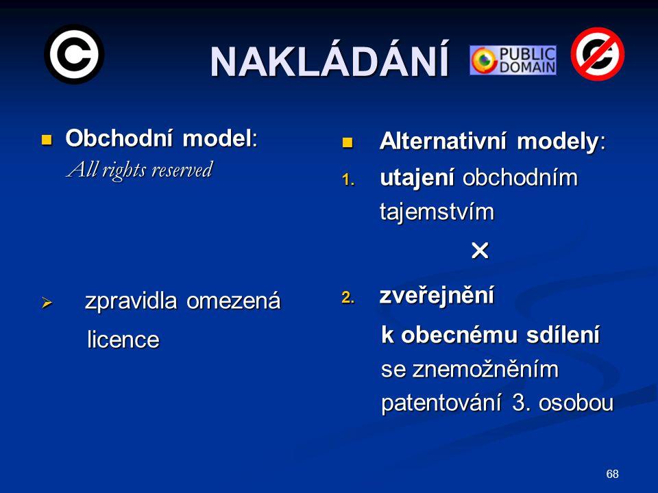 NAKLÁDÁNÍ Obchodní model: Obchodní model: All rights reserved All rights reserved  zpravidla omezená licence licence Alternativní modely: 1. utajení