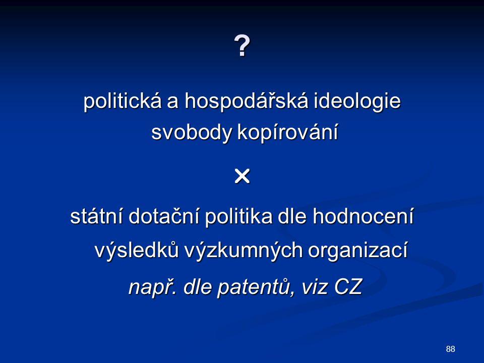 ? politická a hospodářská ideologie svobody kopírování svobody kopírování státní dotační politika dle hodnocení výsledků výzkumných organizací např.