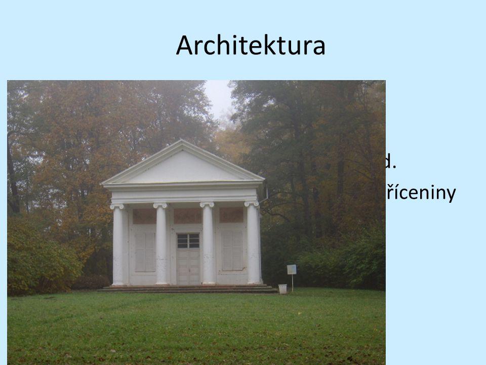 Architektura Návrat ke starým slohům Tzv. historizující slohy Neogotika, neorenesance, neobaroko atd. Staví se různé altány, minarety a hradní zříceni
