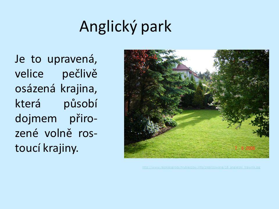Anglický park Je to upravená, velice pečlivě osázená krajina, která působí dojmem přiro- zené volně ros- toucí krajiny. http://www.rajskieogrody.hrubi