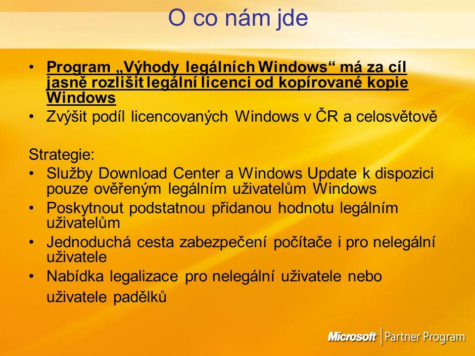 """O co nám jde Program """"Výhody legálních Windows má za cíl jasně rozlišit legální licenci od kopírované kopie Windows Zvýšit podíl licencovaných Windows v ČR a celosvětově Strategie: Služby Download Center a Windows Update k dispozici pouze ověřeným legálním uživatelům Windows Poskytnout podstatnou přidanou hodnotu legálním uživatelům Jednoduchá cesta zabezpečení počítače i pro nelegální uživatele Nabídka legalizace pro nelegální uživatele nebo uživatele padělků"""