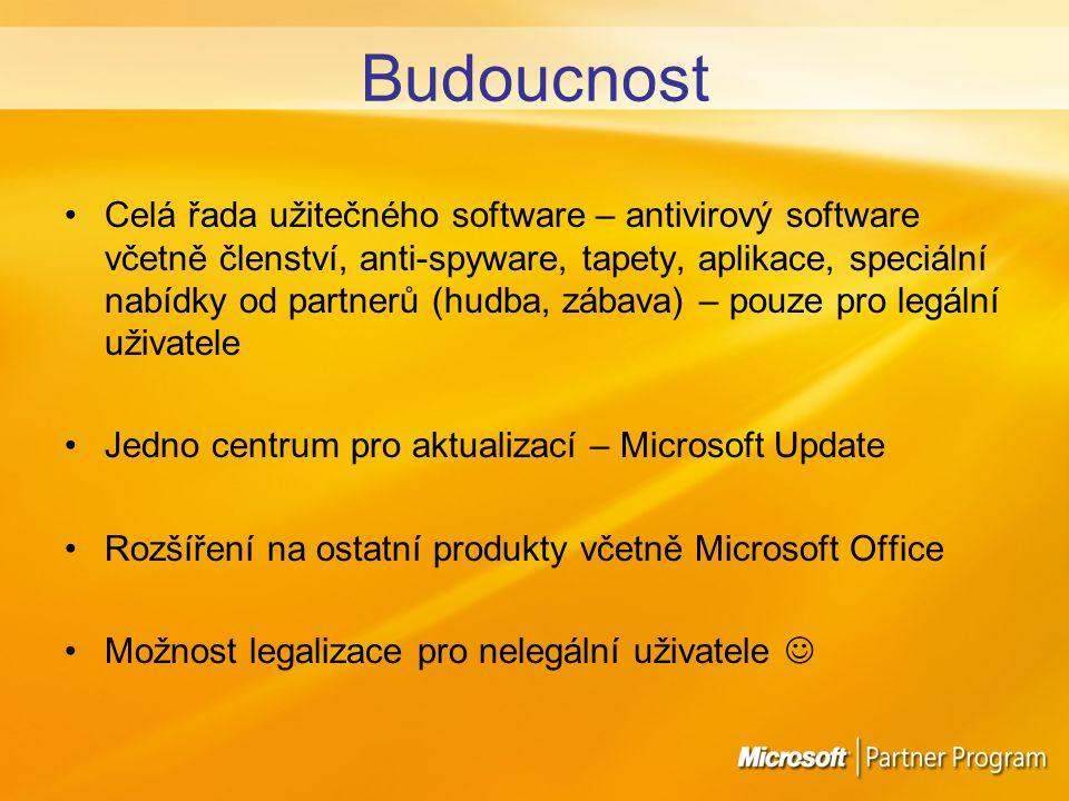 Budoucnost Celá řada užitečného software – antivirový software včetně členství, anti-spyware, tapety, aplikace, speciální nabídky od partnerů (hudba, zábava) – pouze pro legální uživatele Jedno centrum pro aktualizací – Microsoft Update Rozšíření na ostatní produkty včetně Microsoft Office Možnost legalizace pro nelegální uživatele