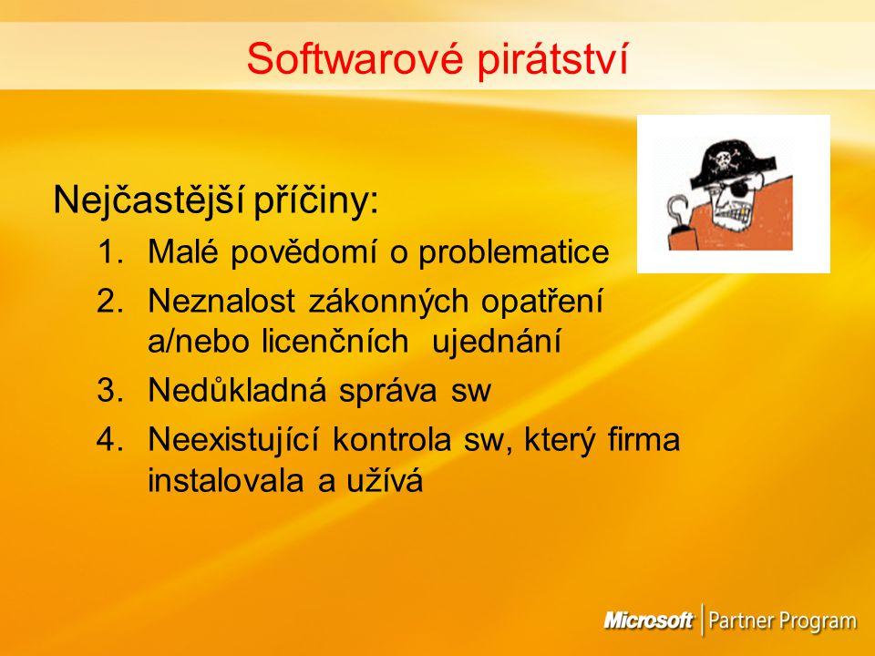 FAKTA Více než polovina komerčního SW ve Slovenské republice je užívána nelegálně Největší procento nelegálních uživatelů = malé a střední podnikatelské subjekty (nejčastěji existenčně závislé na sw = grafická studia, IT firmy, architekti apod.) Nelegální užívání sw stálo firmy v EMEA 4 miliony EUR Škody způsobené výrobcům software v rámci regionu EMEA v roce 2004 přesáhly 9 miliard EUR Nejvyšší uložená penalizace v EMEA = 300,000 EUR Zdroj: BSA