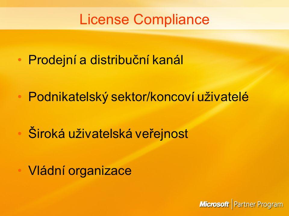 License Compliance Prodejní a distribuční kanál Podnikatelský sektor/koncoví uživatelé Široká uživatelská veřejnost Vládní organizace