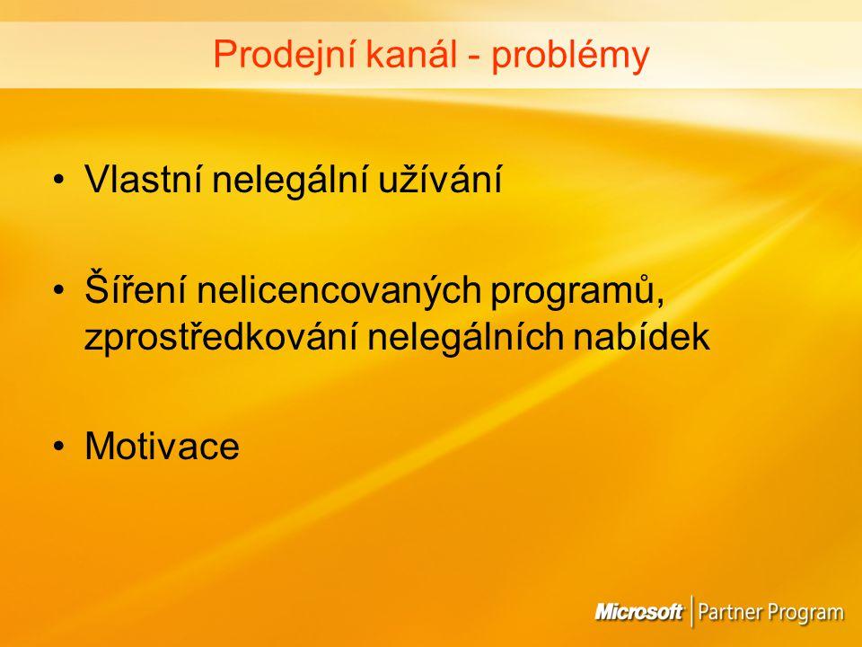 zvyšování zájmu o legální (originální) programy snižování nabídky nelegálních produktů = odhalování nekalé konkurence pomoc při řešení otázek legalizace nebo řádné správy licencí ochrana zákazníků - upozorňování na rizika spojená s užíváním nelicencovaných programů (legální software JE levnější než software nelegální) vzdělávání v oblasti ochrany autorských práv Prodejní kanál – co můžeme dělat.