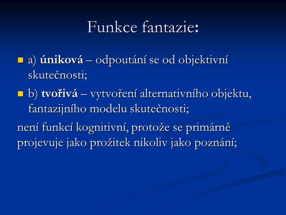 Funkce fantazie: a) úniková – odpoutání se od objektivní skutečnosti; a) úniková – odpoutání se od objektivní skutečnosti; b) tvořivá – vytvoření alte