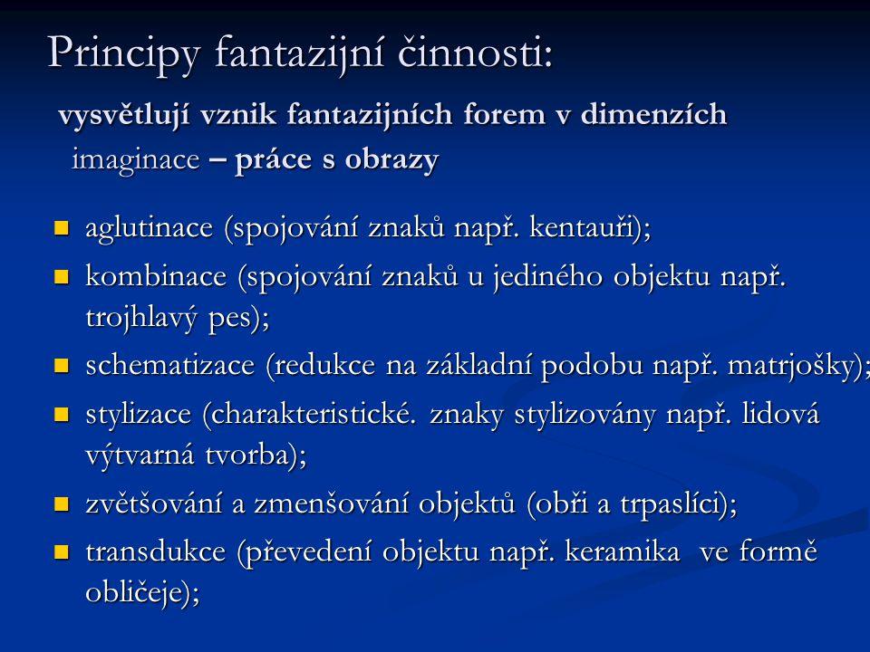 Principy fantazijní činnosti: vysvětlují vznik fantazijních forem v dimenzích imaginace – práce s obrazy aglutinace (spojování znaků např. kentauři);