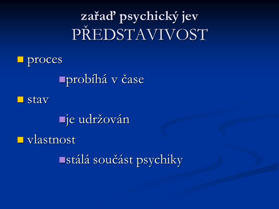 zařaď psychický jev PŘEDSTAVIVOST proces probíhá v čase stav je udržován vlastnost stálá součást psychiky