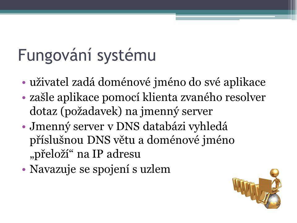 """Fungování systému uživatel zadá doménové jméno do své aplikace zašle aplikace pomocí klienta zvaného resolver dotaz (požadavek) na jmenný server Jmenný server v DNS databázi vyhledá příslušnou DNS větu a doménové jméno """"přeloží na IP adresu Navazuje se spojení s uzlem"""
