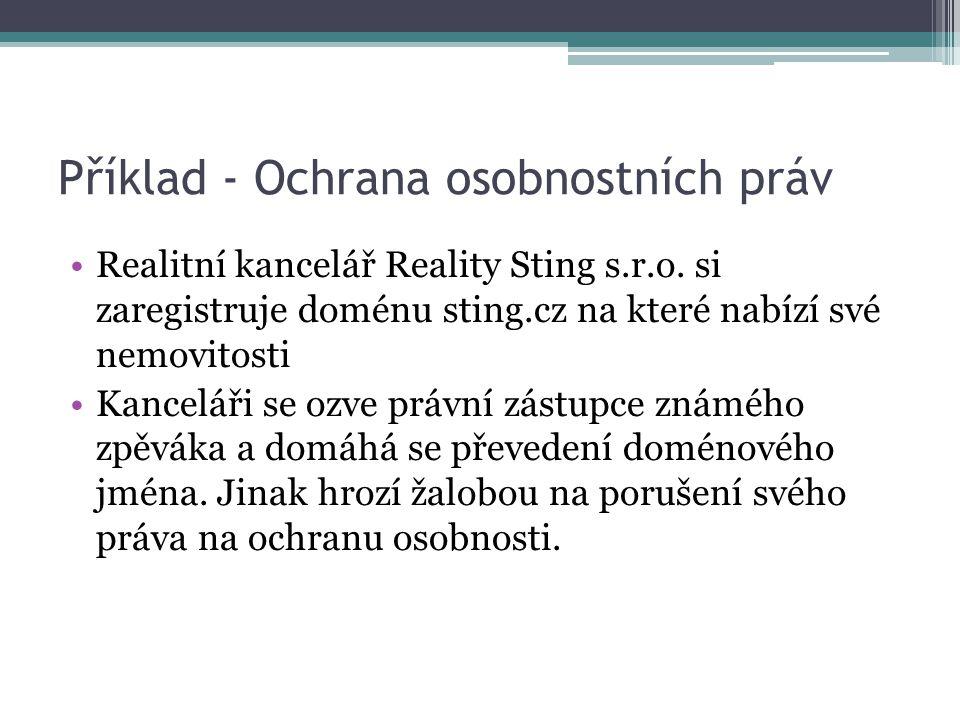 Příklad - Ochrana osobnostních práv Realitní kancelář Reality Sting s.r.o.