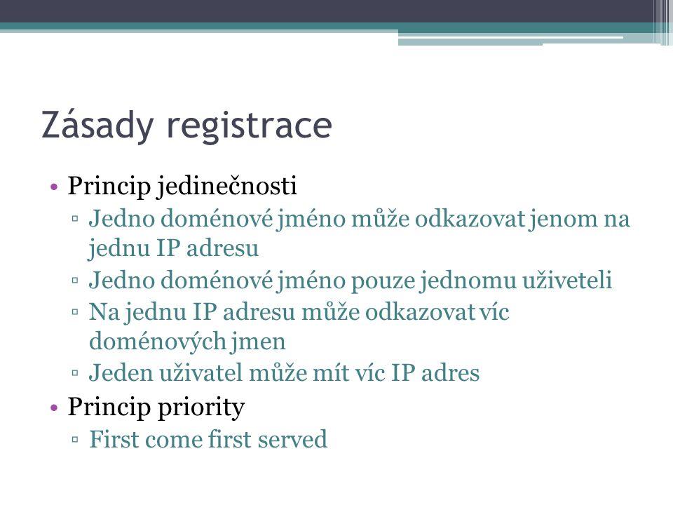 Zásady registrace Princip jedinečnosti ▫Jedno doménové jméno může odkazovat jenom na jednu IP adresu ▫Jedno doménové jméno pouze jednomu uživeteli ▫Na jednu IP adresu může odkazovat víc doménových jmen ▫Jeden uživatel může mít víc IP adres Princip priority ▫First come first served