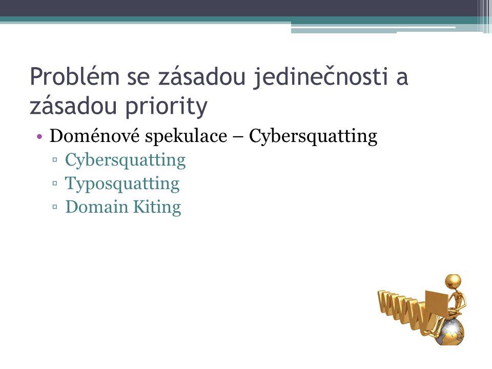 Problém se zásadou jedinečnosti a zásadou priority Doménové spekulace – Cybersquatting ▫Cybersquatting ▫Typosquatting ▫Domain Kiting