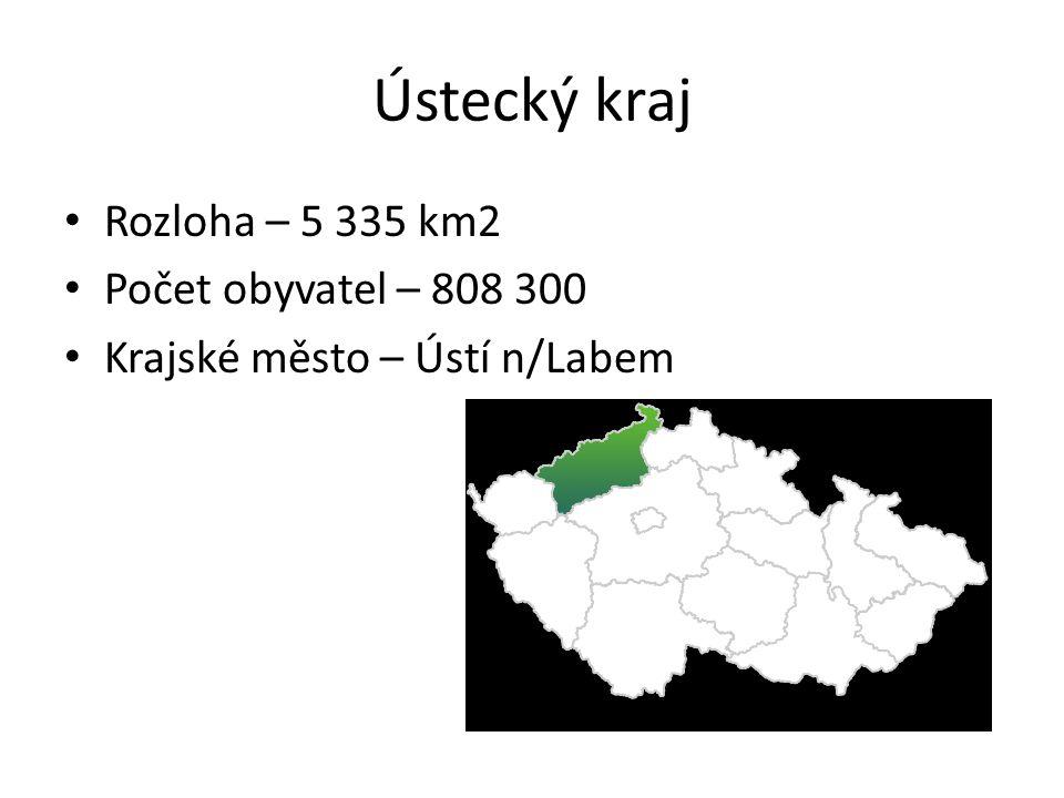 Ústecký kraj Rozloha – 5 335 km2 Počet obyvatel – 808 300 Krajské město – Ústí n/Labem