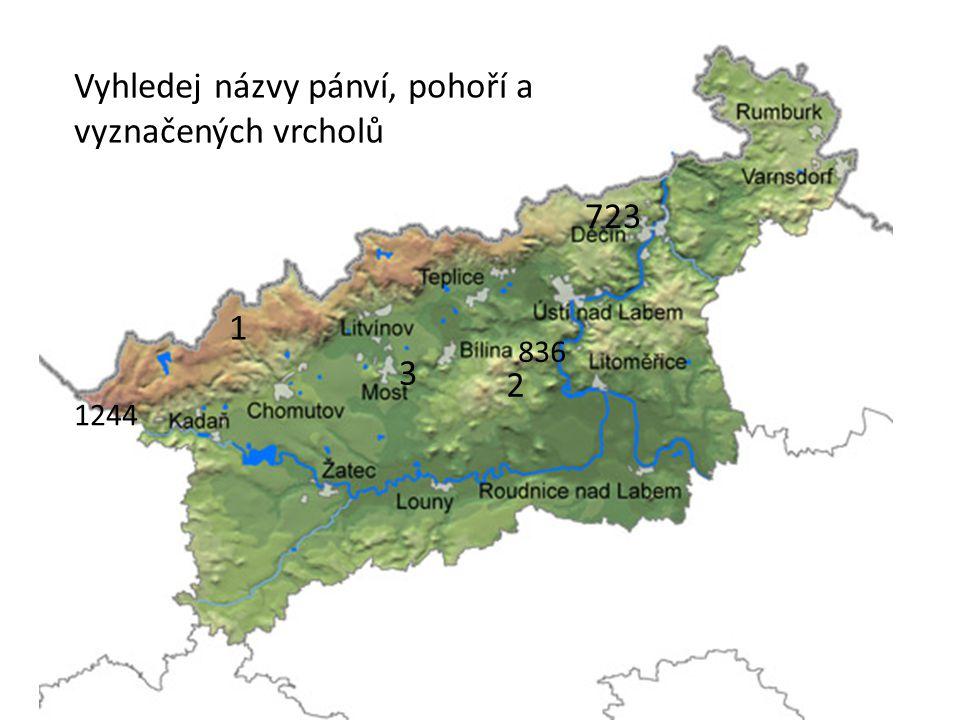 Vyhledej názvy pánví, pohoří a vyznačených vrcholů 1 2 3 1244 836 723