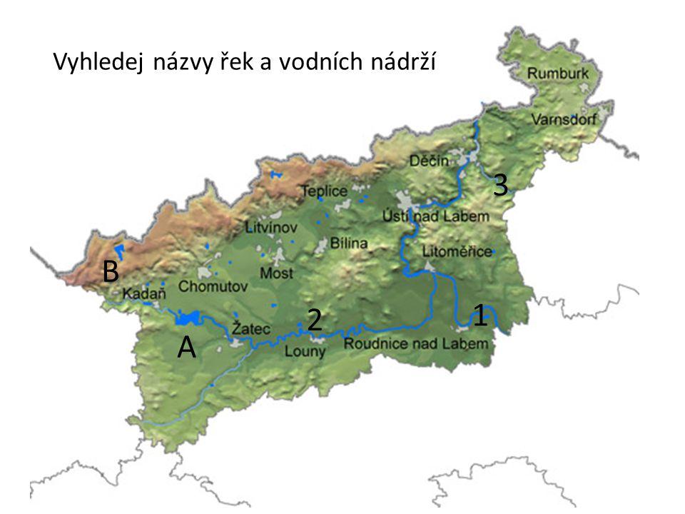 Vyhledej názvy řek a vodních nádrží 1 2 3 A B
